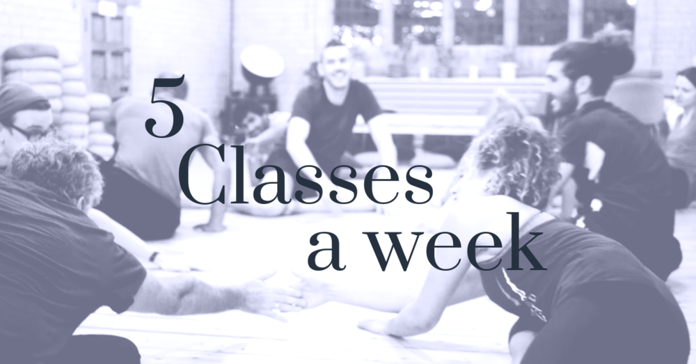 - 5 classes a week, different topics & cycles, discount on 1-1 sessions, workshops & courses