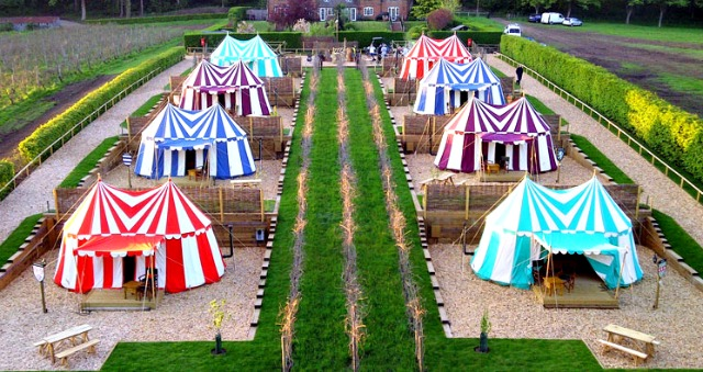 Glamping - glamorous style camping , make a weekend of it and set up camp.