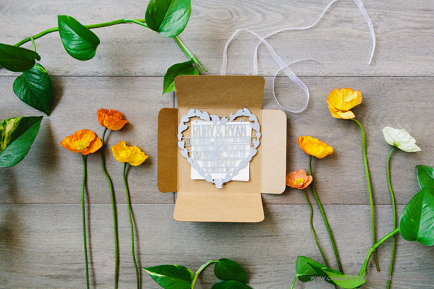 Laser cut heart invite