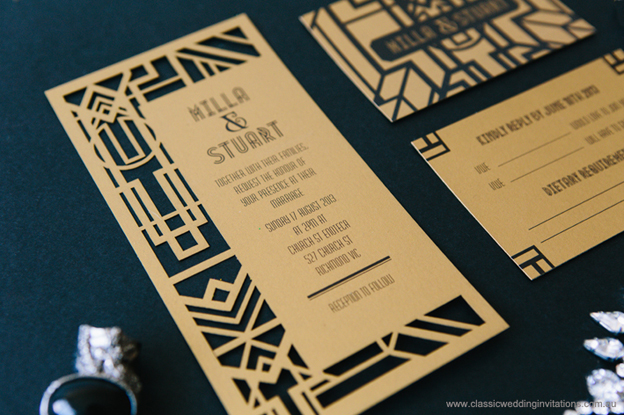 Art Deco laser cut invite