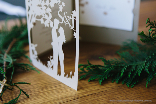 Laser cut romantic wedding invite