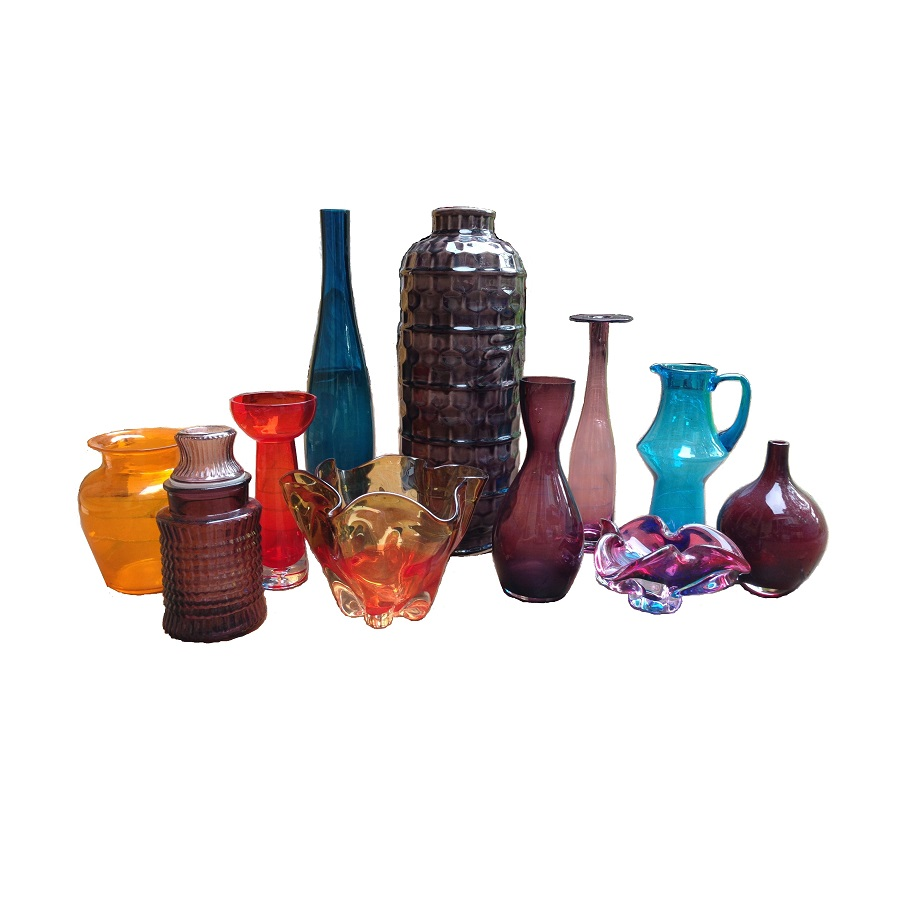 Coloured Glass Vases and Bowls