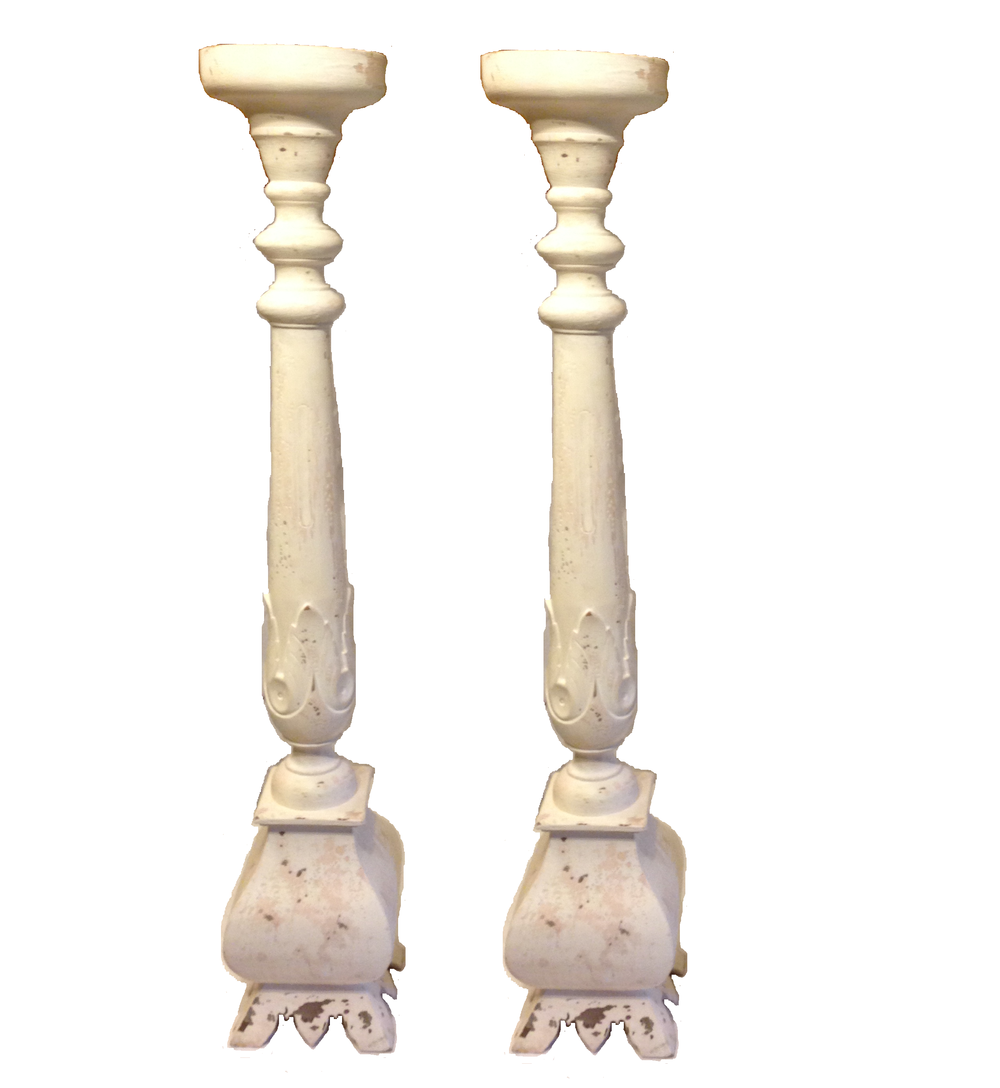 Tall White Candle Holders $50