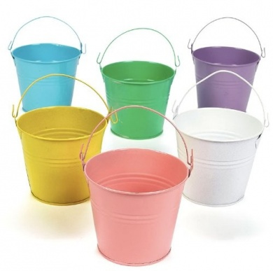 Coloured Tin Buckets $4