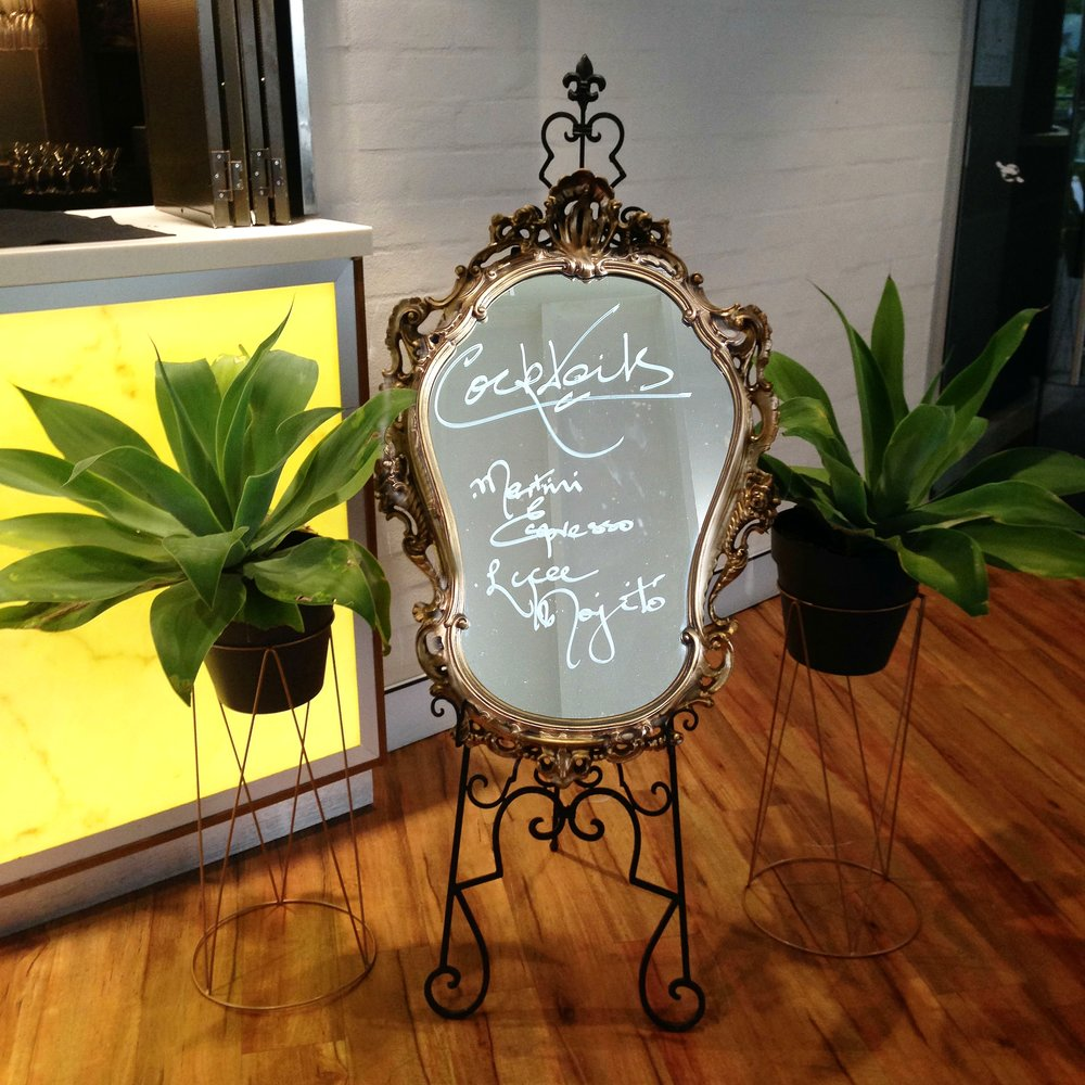 Gold Intricate Mirror Signage $40