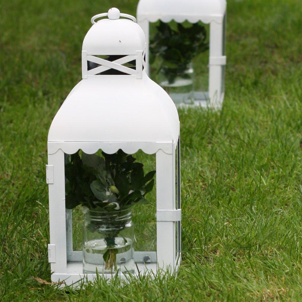 White Metal Lantern $8