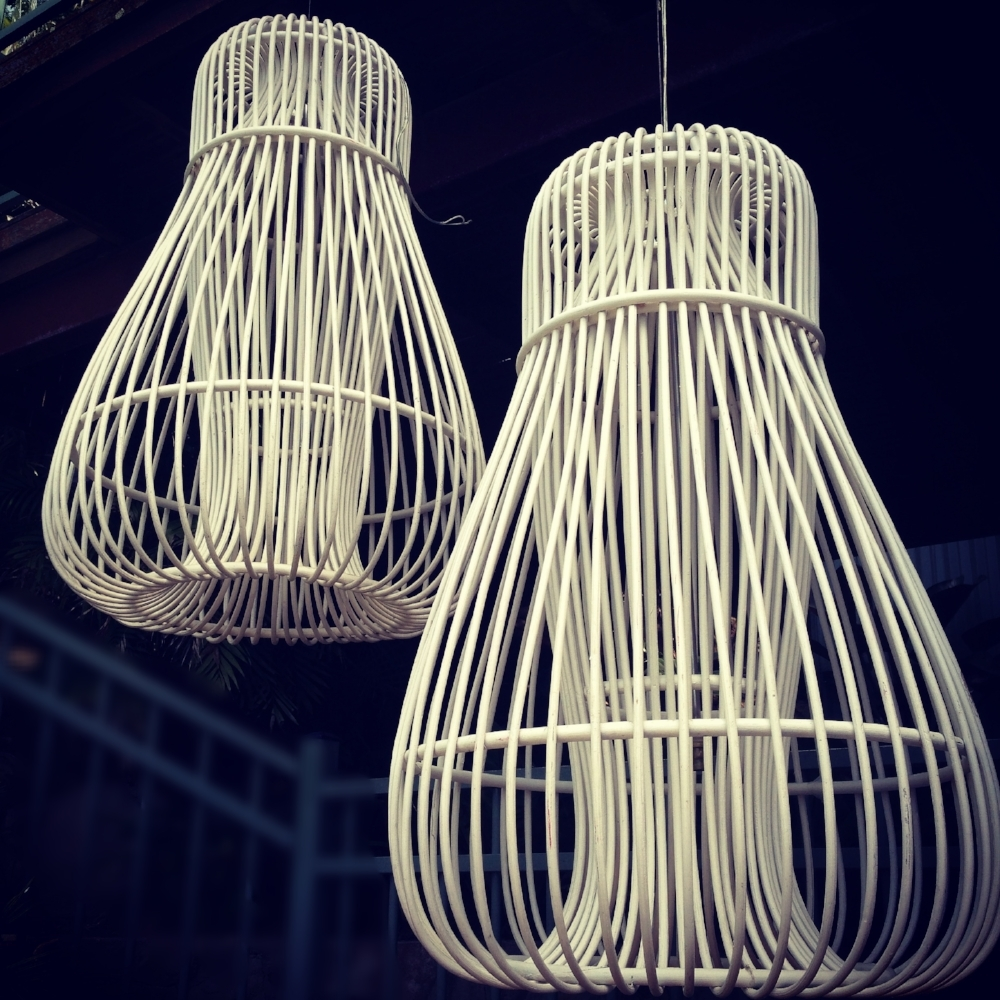 Large White Wooden Lights $50