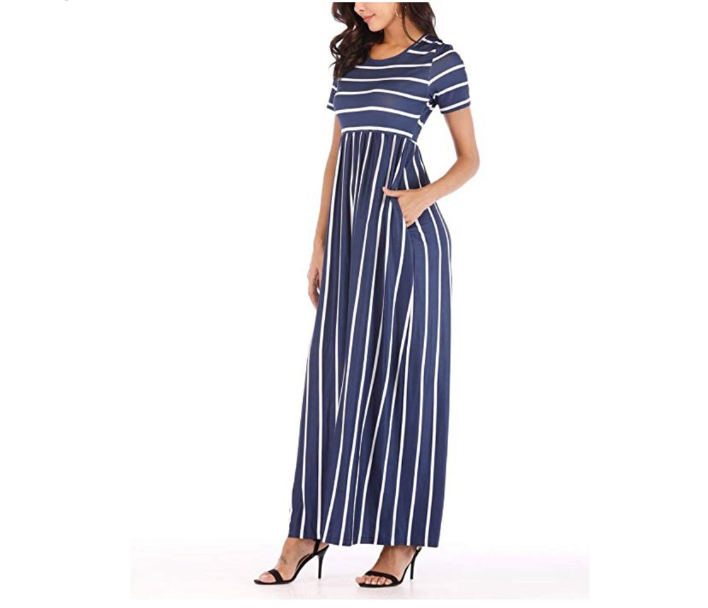 - This stripe maxi from Amazon is lightweight but not see through and super flattering! I have the Navy stripe, but it comes in other colors too! Plus! Pockets!Find it here.