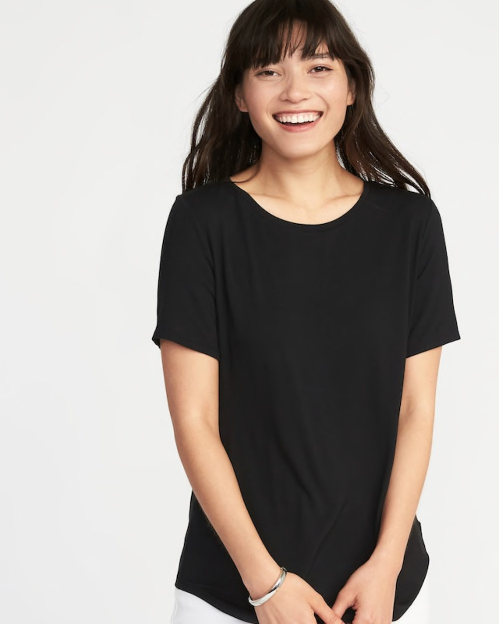 - Ok! I have found my new go to T-shirt! Here's what I love about them1. They are $8!2. Come in an array of colors and neck styles3. Are silky soft4. Aren't see through5. Are longer (YAS!)6. Loving the sleeve lengthA game changer t-shirt perfect for SummerFind it here.