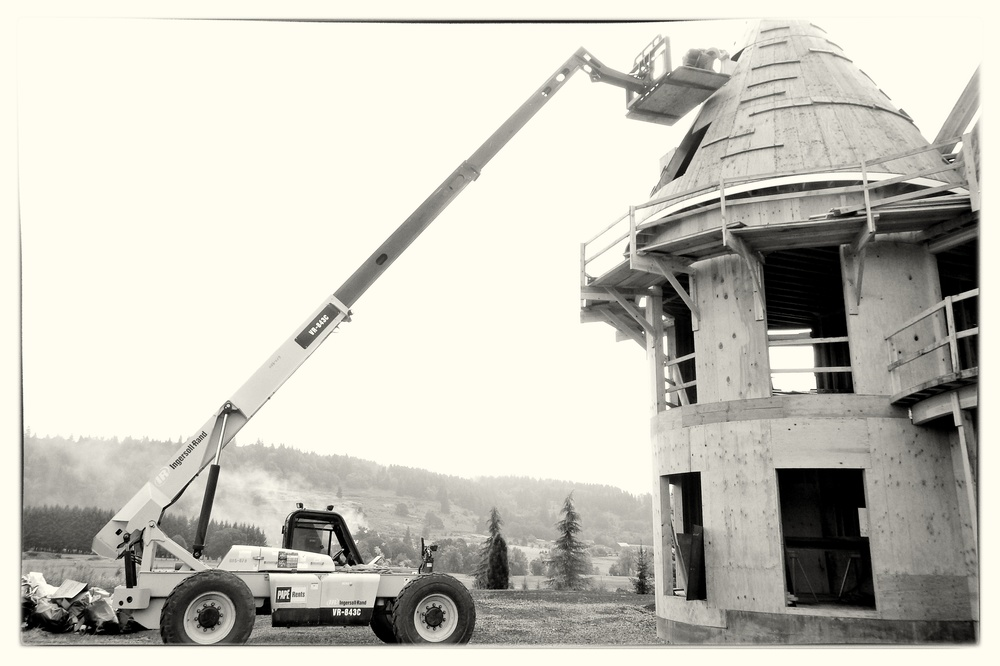 Framing Radius Dormers With Telehandler and Man-basket - West Linn