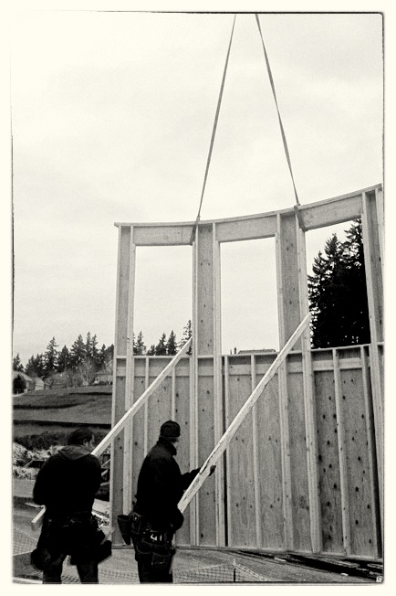 Setting Radius Wall with Crane - West Linn