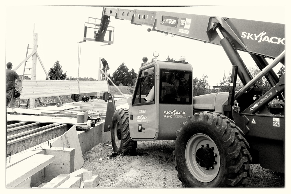 Setting Beams with Forklift - Portland