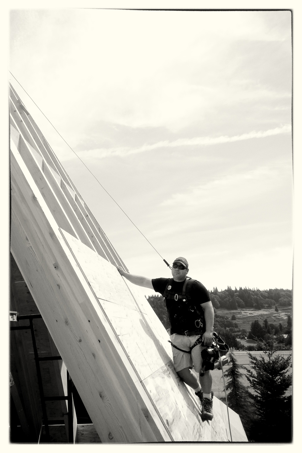 Sheeting Steep Roof With Fall Protection - West Linn