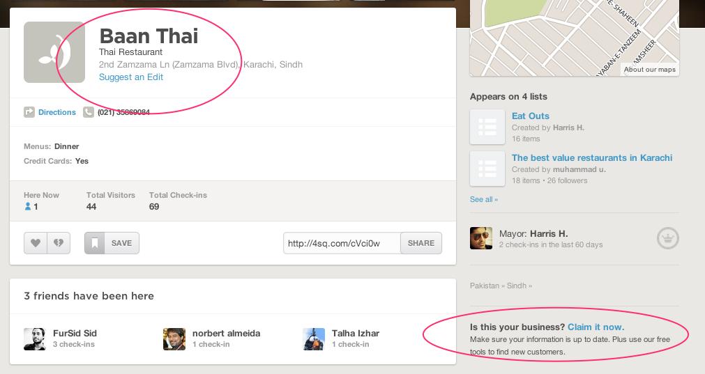 Baan Thai FourSquare Page