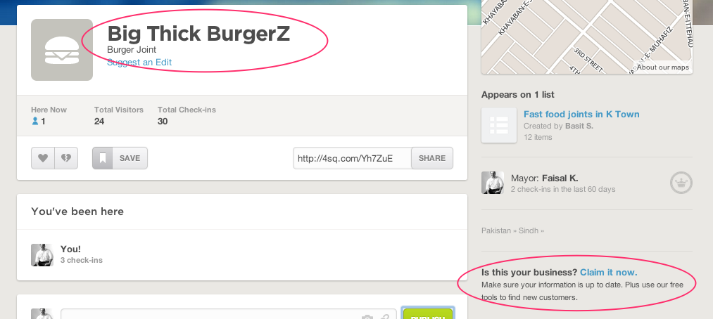 Big Thick BurgerZ FourSquare Page