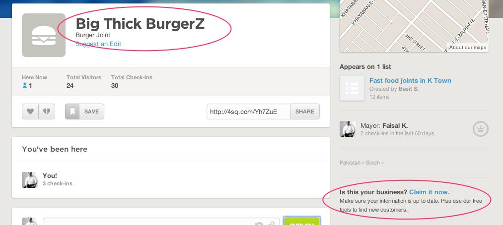 Big Thick BurgerZ FourSquare Page