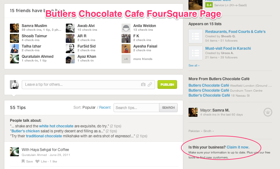 Butlers Chocolate FourSquare Page