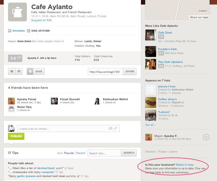 Cafe Alanto FourSquare Page
