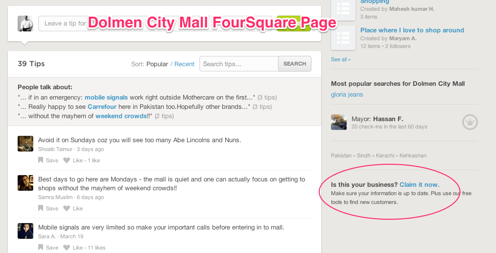 Dolmen City Mall FourSquare Page
