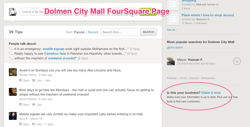 Dolmen City Mall FourSquare Page