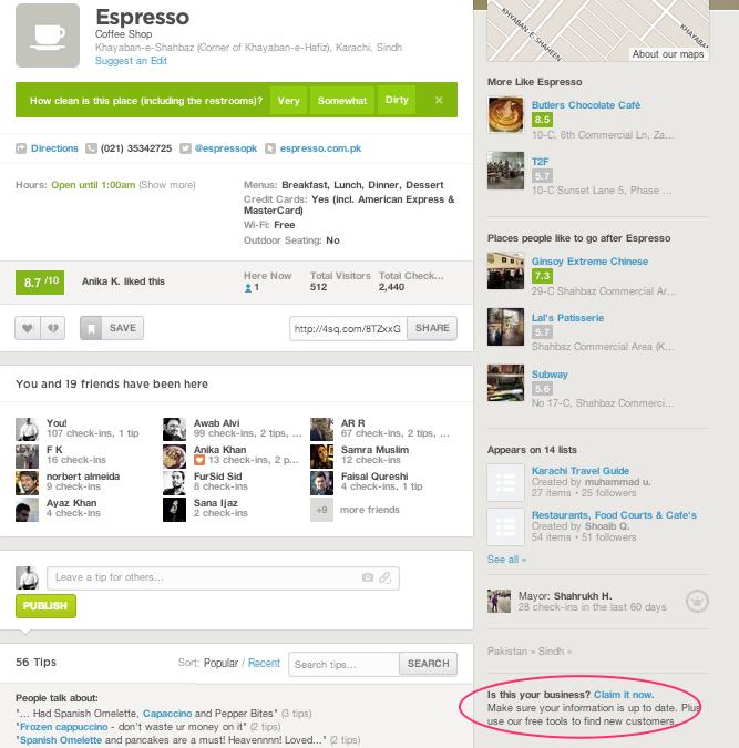 Espresso FourSquare Page