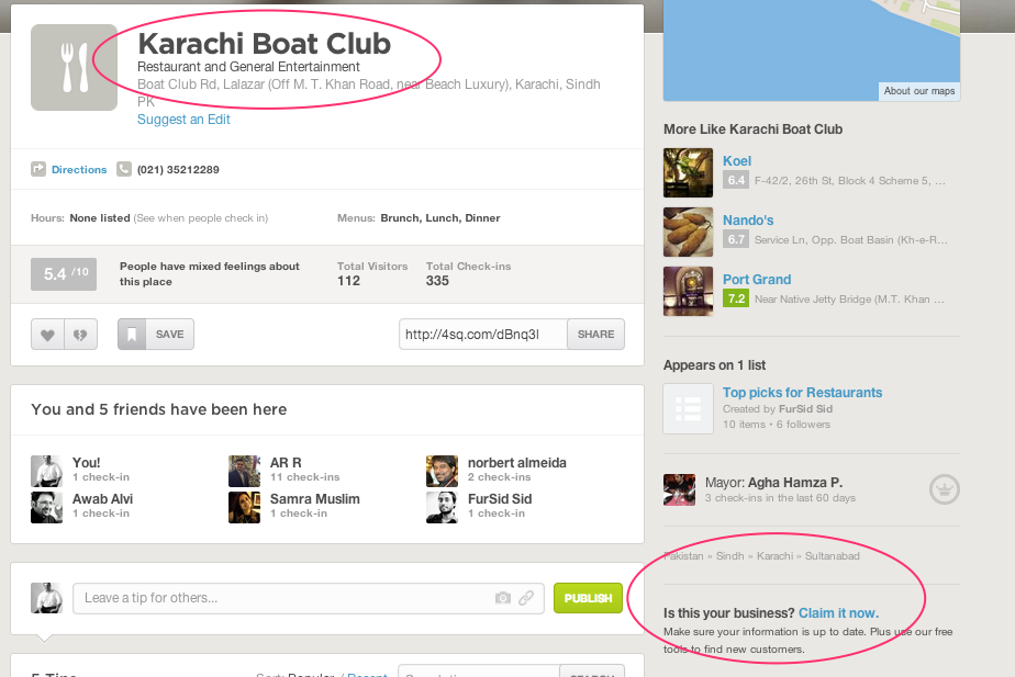 Karachi Boat Club FourSquare Page