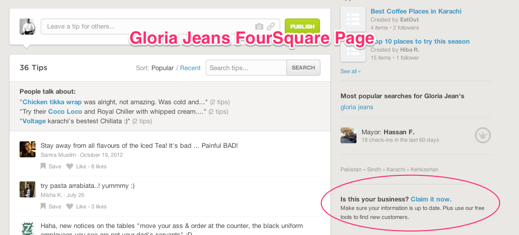 gloria jeans foursquare page
