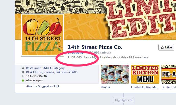 14th Street Pizza Facebook Page