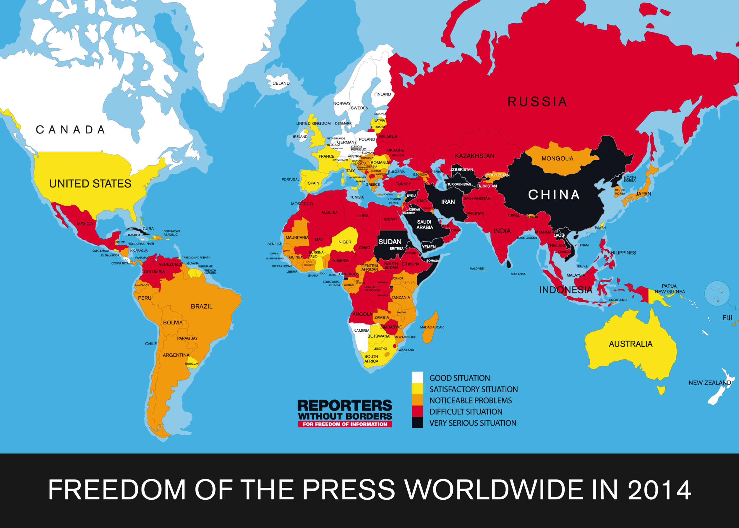 World Press Freedom Index Map 2014