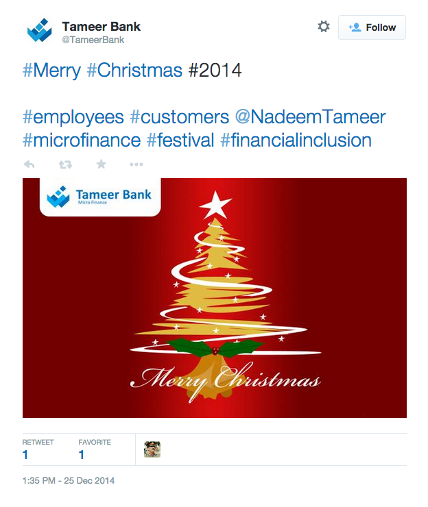 Tameer Bank wishing Merry Christmas