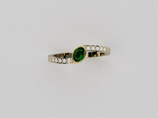 18ct yellow gold, Emerald, and diamonds