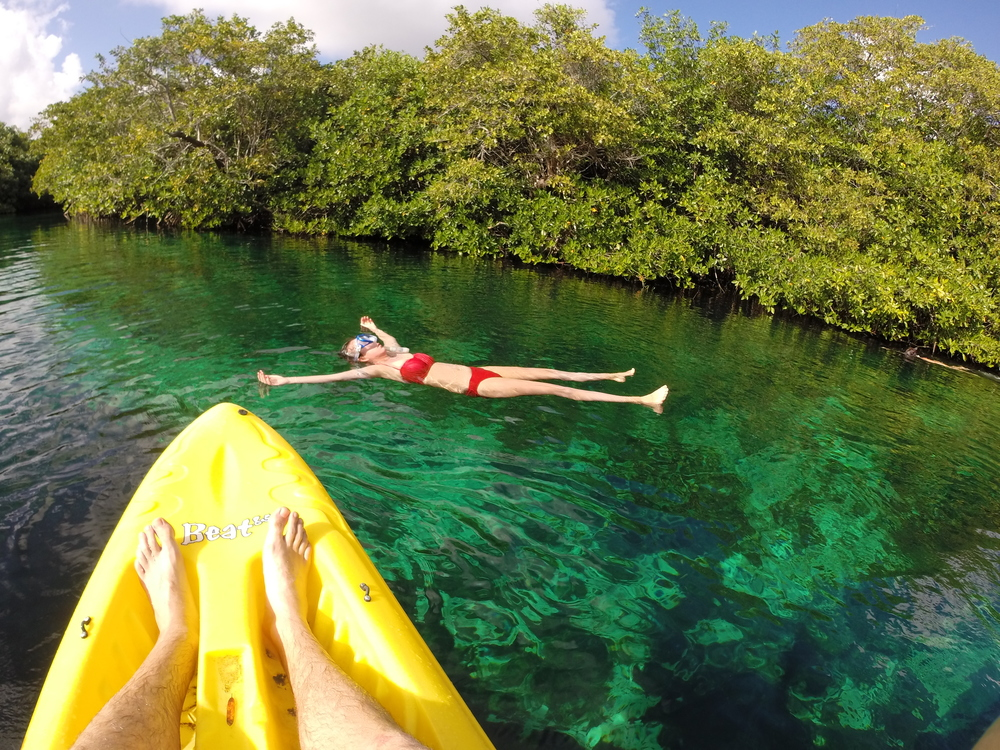 Kayaking/swimming through Casa Cenote