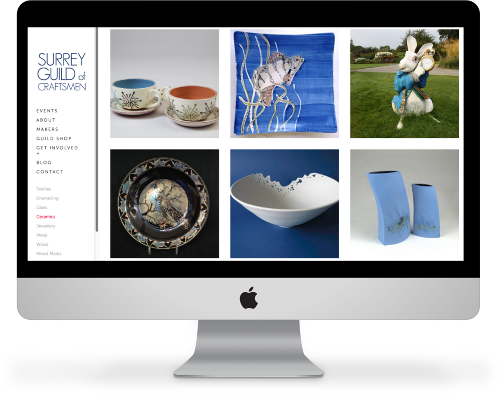The Ceramics index page, part of the Surrey Guild Maker's directory.