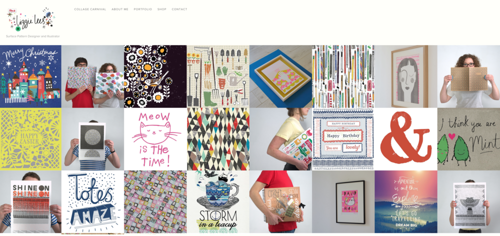 Homepage which is directly into the illustration portfolio section.