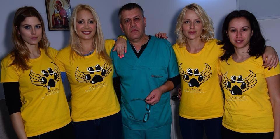 L-R: Me, Victoria, the vet, Pola, Madalina