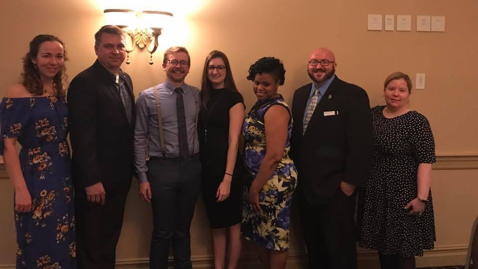 Pictured left to right: Jessica Gusler, Matt Gendaszek, Ryan Bross, Mollie Suitch, Ashli Rice, Bill Gusler, Krystal Kane April 14th, 2018