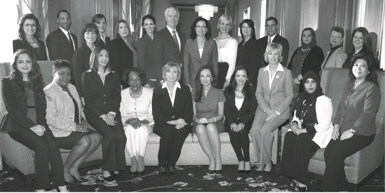 Tiffany L. Adams, President of Cincinnati the Etiquette & Leadership Institute, LLC, shown with graduation class of 2014 at the Protocol School of Washington®  conference in Washington, D.C.