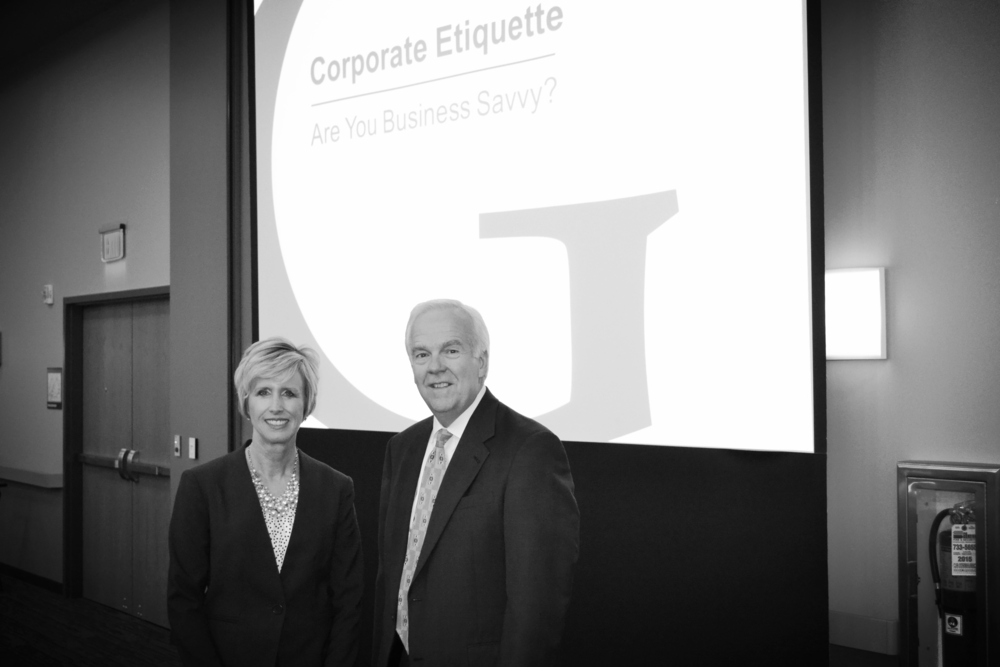 Tiffany Adams and Larry Grypp, President of Goering Center for Family & Private Business