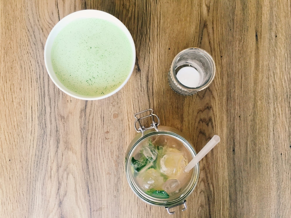 Matcha latte and a rhubarb juice.