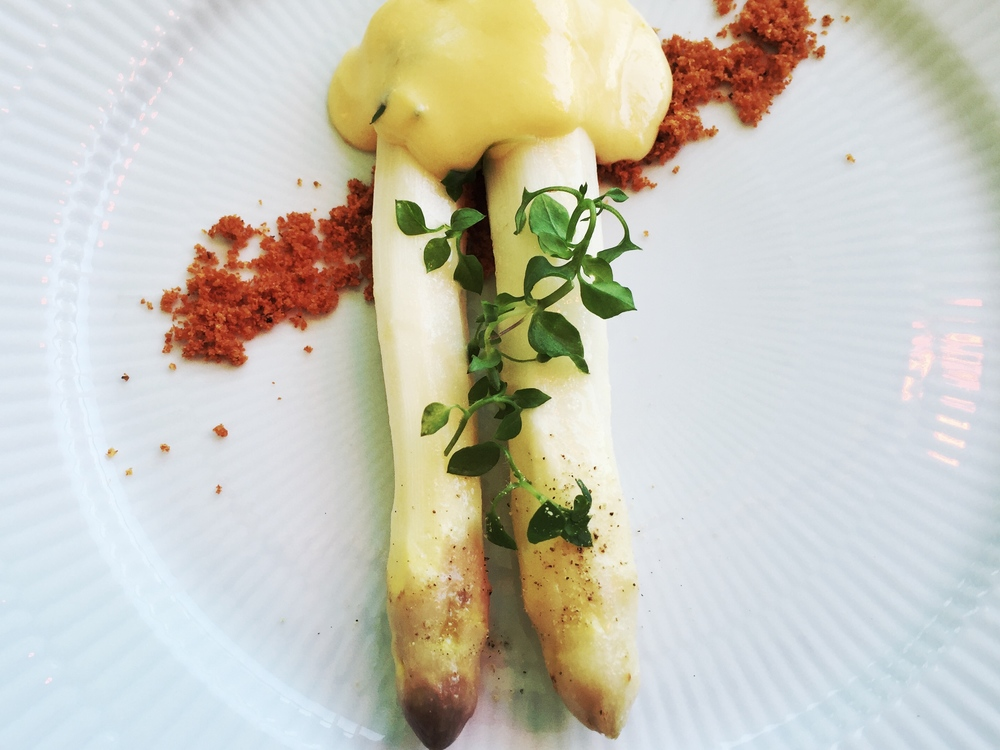 Danish white asparagus with cream sauce.