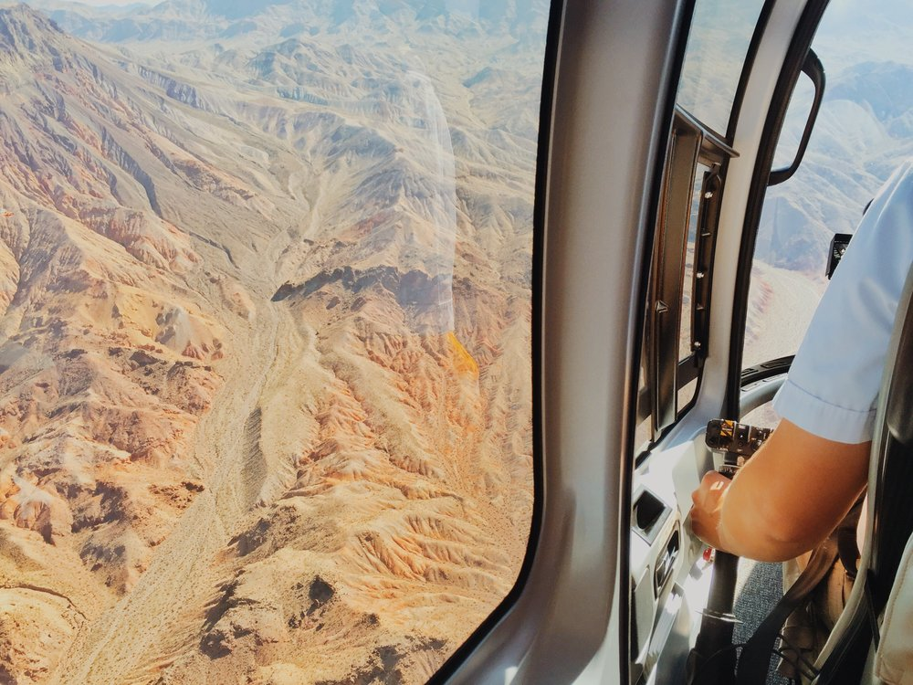 We took a helicopter to the Grand Canyon.