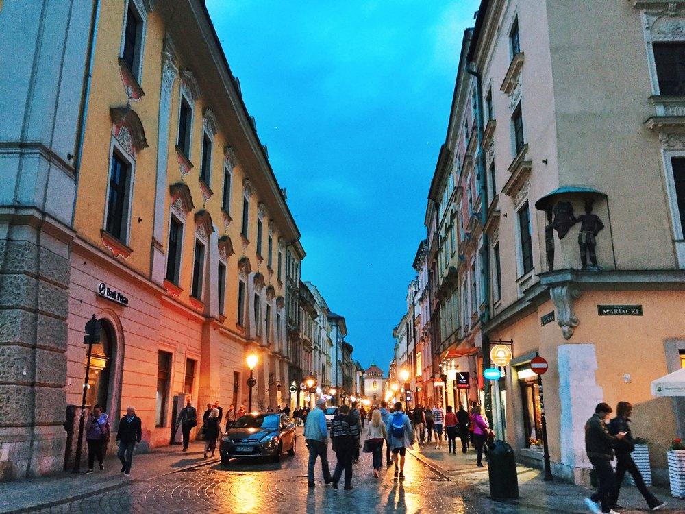 Stare Miasto  at night.