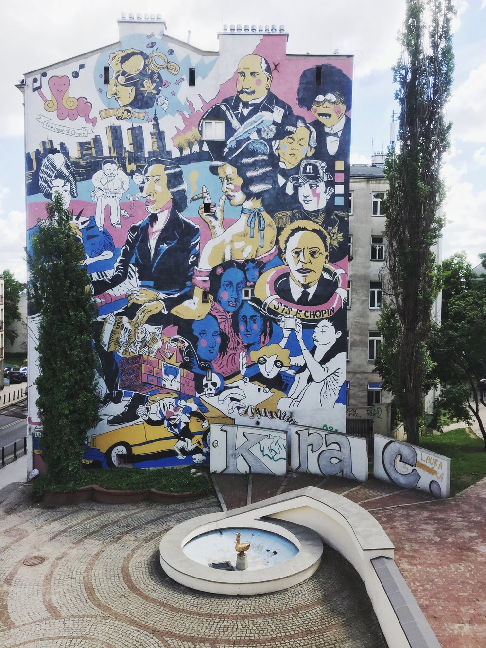 Street art by the  Fryderyk Chopin Museum .