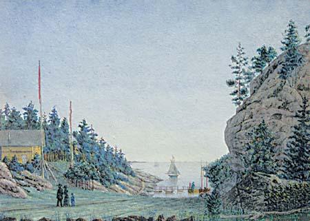Akvarell fra Hankø utført av   Henrik Mohn  1886