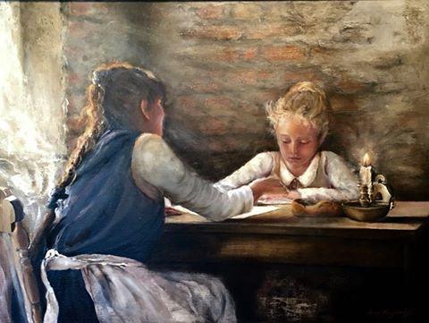Maleriets tittel: 1886 - Hjemmeundervisning. Malt av  Iren Fagerås