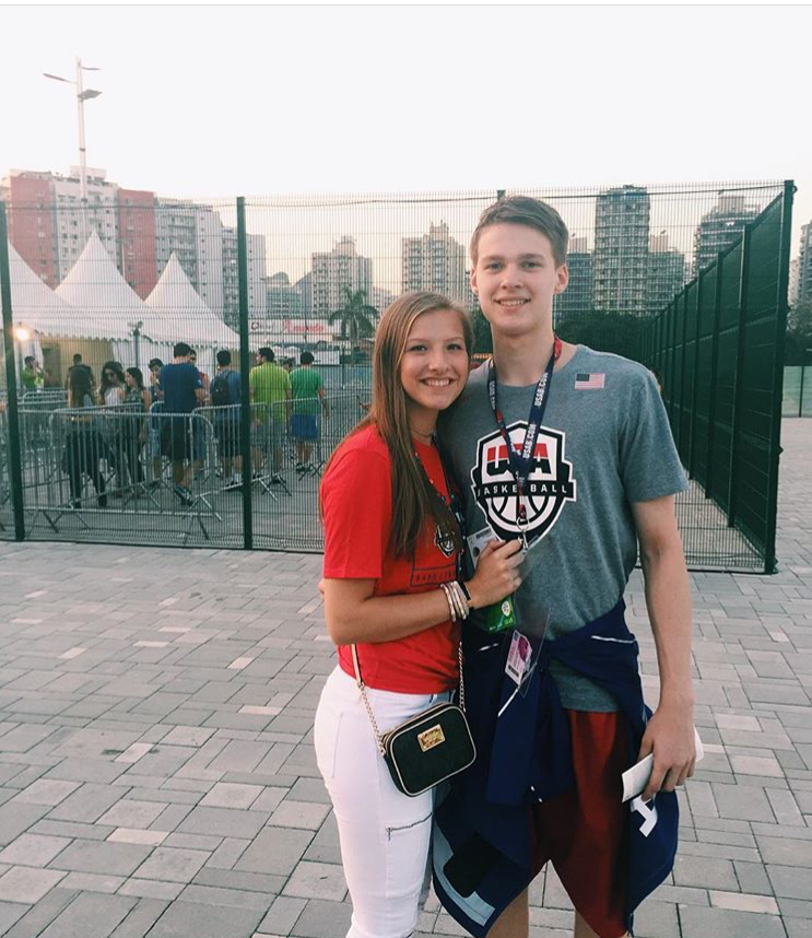 Jamie and Jack Boeheim take a picture at the Olympic Park in Rio.