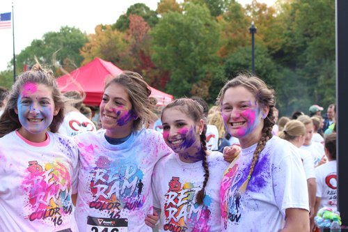 Juniors Carlena Torrens, Jenna Vespi, Mia Potamianos, and Mary Austin pose for a picture after the race