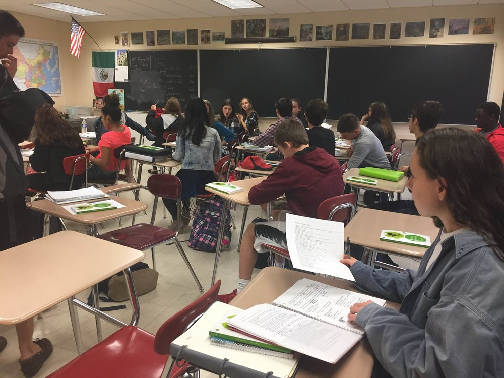 Pictured above is an AP Spanish class at Jamesville-DeWitt High School. The class has well over 20 students, an accurate representation of the sizes of many classes at J-DHS.