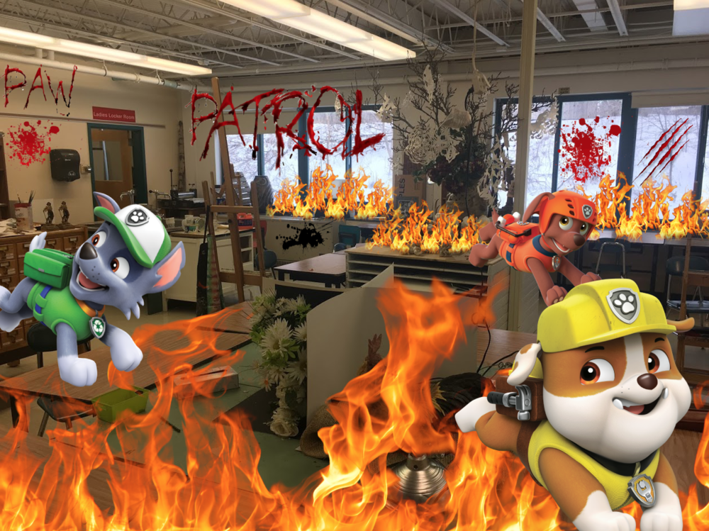 (From left to right) pups Rocky, Rubble, and Zuma mercilessly destroying the art room.