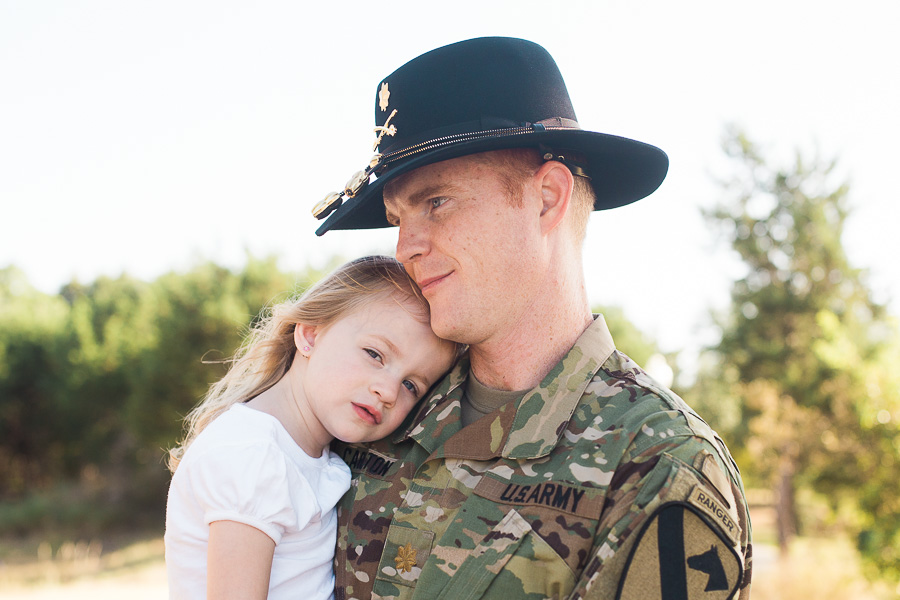 Army military father daughter Stetson photo session before a deployment - allyourheartphotography.com - Killeen, Harker Heights, and Fort Hood Family Photographer